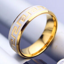 Men women his her titanium Steel engagement wedding gold plated ring size R 0328