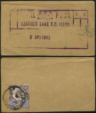 GB PARCEL POST HANDSTAMP KE7 5d 1903 LEATHER LANE LONDON