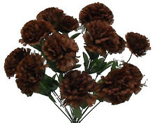 14 Carnations DARK BROWN Long Stems Silk Wedding Flowers Bouquets Centerpieces