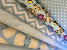 Polycotton Fat Quarters Bundles Baby Boy Blue Teddies Lambs Stars Craft Sewing