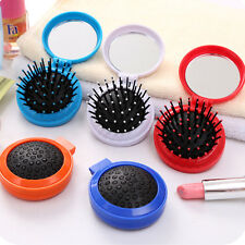 Portable Travel Folding Hair Brush with Mirror Pocket Size Massage Comb Hot