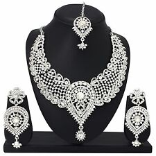 New Bollywood Fashion Silver Plated Diamond Necklace Earrings Bridal Jewelry Set