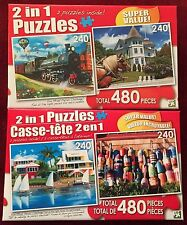 Lot of Two 2 in 1 Puzzles: Steam Train & Cottage ~ Waterfront Vacation & Buoys