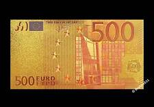 24k Gold Plated Colourised €500 Euro Banknote - Gift - COA Bill Note Europe
