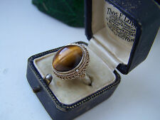 AMAZING VINTAGE STERLING SILVER TIGERS EYE LOCKET POISON PILL RING ADJUSTABLE