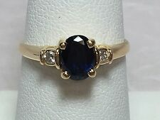 14K YELLOW GOLD 1 CARAT OVAL SAPPHIRE W/ .05 TCW DIAMOND ACCENTS RING SZ 6.75