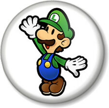 "Super Mario Brothers Luigi 1"" 25mm Pin Button Badge Bros Green Nintendo Game"