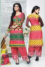 Printed Cotton Salwar Kameez Pink Color Unstiched Daily Use Dress Material