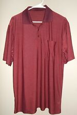 Men's Golf Short Shirt Henley Style Maroon Chambray 100% Silk pit to pit is 23""