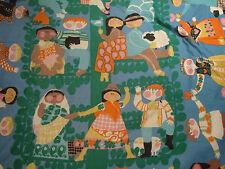 Vtg Mid Century Pom Pom Blanket International Children Kids Love Animals World