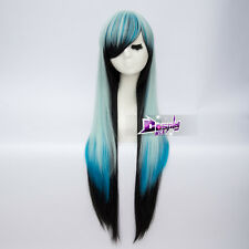 Cosplay Lolita 85cm Blue Mixed Black Long Straight Wig Heat Resistant + Free Wig