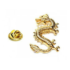 Color Oro Suerte dragon Insignia De Metal Con Pin dragón chino poder la AJTP449