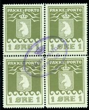 GREENLAND #Q1 1ore Pakke Porto, Blk of 4, w/socked-on-nose cancel Gronlund cert