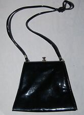 Vintage Cabrelli Purse Handbag Bag Canada Black Patent Leather Silver Metal Fram