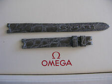 NOS Vintage Omega 9mm Silver/Grey Ladies Crocodile Strap with 3mm Cut-Outs
