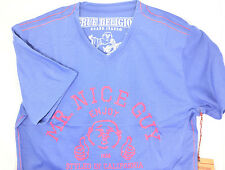 $225 TRUE RELIGION Mens BLUE RED V-NECK MR. NICE GUY T-SHIRT TEE SIZE XXXL 3XL