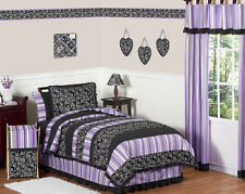LUXURY FUNKY LAVENDER PURPLE BLACK POLKA DOT TWIN TEEN KIDS BEDDING SET FOR GIRL
