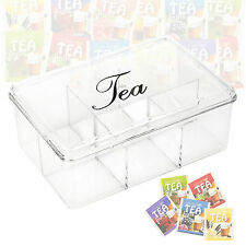 Acrylic Clear Tea Box 6 Sections With Lid Compartments Container Bag Caddy Chest