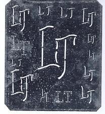 Große Monogramm Schablone LT Jugendstil   Weißblech 15,5 x 18 cm Weissstickerei