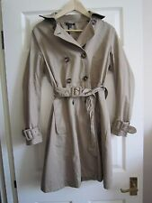 WOMEN'S TOPSHOP CLASSIC TRENCH COAT  S  uk 10 -WORN ONCE- belted mac sand cotton