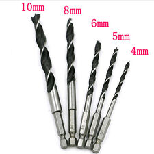 "5X 4/5/6/8/10mm Quick Change Metal Tools 1/4"" Hex Shank Wood Drill Bit Tool Set"