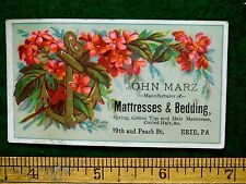 1870s-80s John Marz Mattresses & Bedding Anchor Flowers Erie, PA Trade Card F32