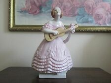 """Herend Hungary Porcelain Figurine 5796 Lady Girl Playing Guitar Pink Dress 8"""""""