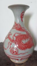 ANTIQUE CHINESE RED-PUCE  & WHITE  4  CLAW DRAGON   VASE : MING MIYAO STYLE
