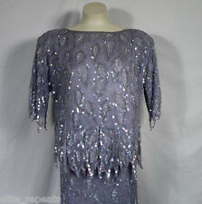 Vintage Scala 100% Pure Silk Beaded Top & Skirt Suit Sz XL Sequin Blue