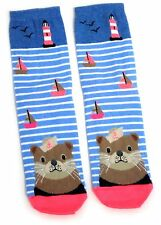 LADIES NAUTICAL LIGHTHOUSE AND OTTER LONTRA SOCKS UK 4-8 EUR 37-42 USA 6-10