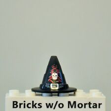 New Genuine LEGO Black Witch Wizard Minifig Hat w/ Buckle, Skull and Lightning