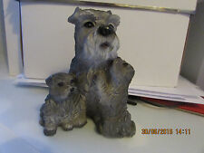 "Dogs and ornaments  Schnauzer dog with 2 puppie latex mould mold 4""x3.5""x3.5"""