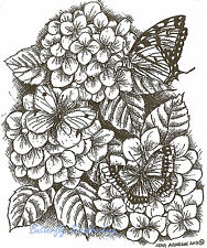 3 Butterfly Hydrangeas Wood Mounted Rubber Stamp Northwoods Rubber Stamp New