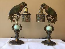 Antique Pair Victorian Edwardian Cast Iron Parrot Birdcage Lamp Right Left