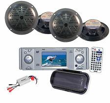 Marine Yacht WB DVD CD Receiver+ Antenna,Amplfier ,4 x Black Marine Speakers Pkg