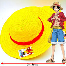 Anime One Piece Monkey D Luffy Straw Hat Cosplay Hats Handmade Cap with Rope 14""