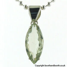 Marquise Faceted Green Amethyst Pendant Claw Set in Sterling Silver