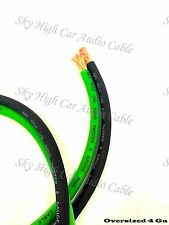 50 ft 4 Gauge AWG 25' GREEN / 25' BLACK Power Ground Wire Sky High Car Audio
