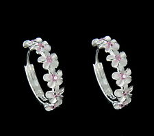 STERLING SILVER 925 6 HAWAIIAN PLUMERIA FLOWER HOOP EARRINGS PINK CZ