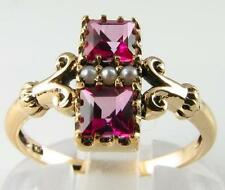 VIBRANT 9k ART DECO PINK TOPAZ & PEARL CUSHION CUT RING