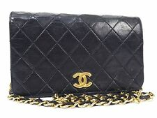 Authentic CHANEL GHW Black Lamb Leather Vintage Quilted Shoulder Bag W19 S514