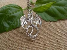 Retro silver Dragon necklace pendant jewelry  retro fire Dragon necklace !