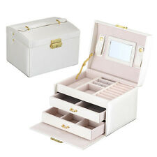 Jewelry Box Storage Organizer Case Ring Earring Necklace Mirror PU Leather Beige