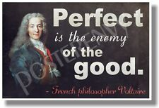Perfect Is The Enemy Of The Good - Voltaire - NEW Classroom Motivational POSTER