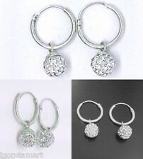 Solid 925 Sterling Silver Round Hoop Disco Bling Jewelled Ball Dangle Earrings
