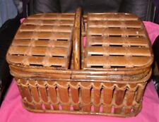 LARGE HEAVY Bamboo Picnic Basket in very good condition