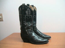 Vintage 80's Womens 7 M Dan Post Exotic Black Lizard  Western Cowboy Boots