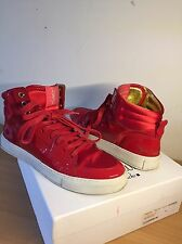 YSL Designer ,High Top Trainers, Red, Size 40, Uk 7, Stunning!