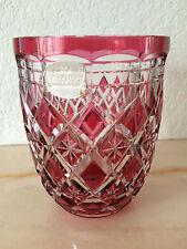 VAL ST LAMBERT - Vase couleur canneberge - signé et étiquette