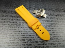 22mm Yellow Rubber Diver Strap Deployment Buckle Watch Band PAM XB